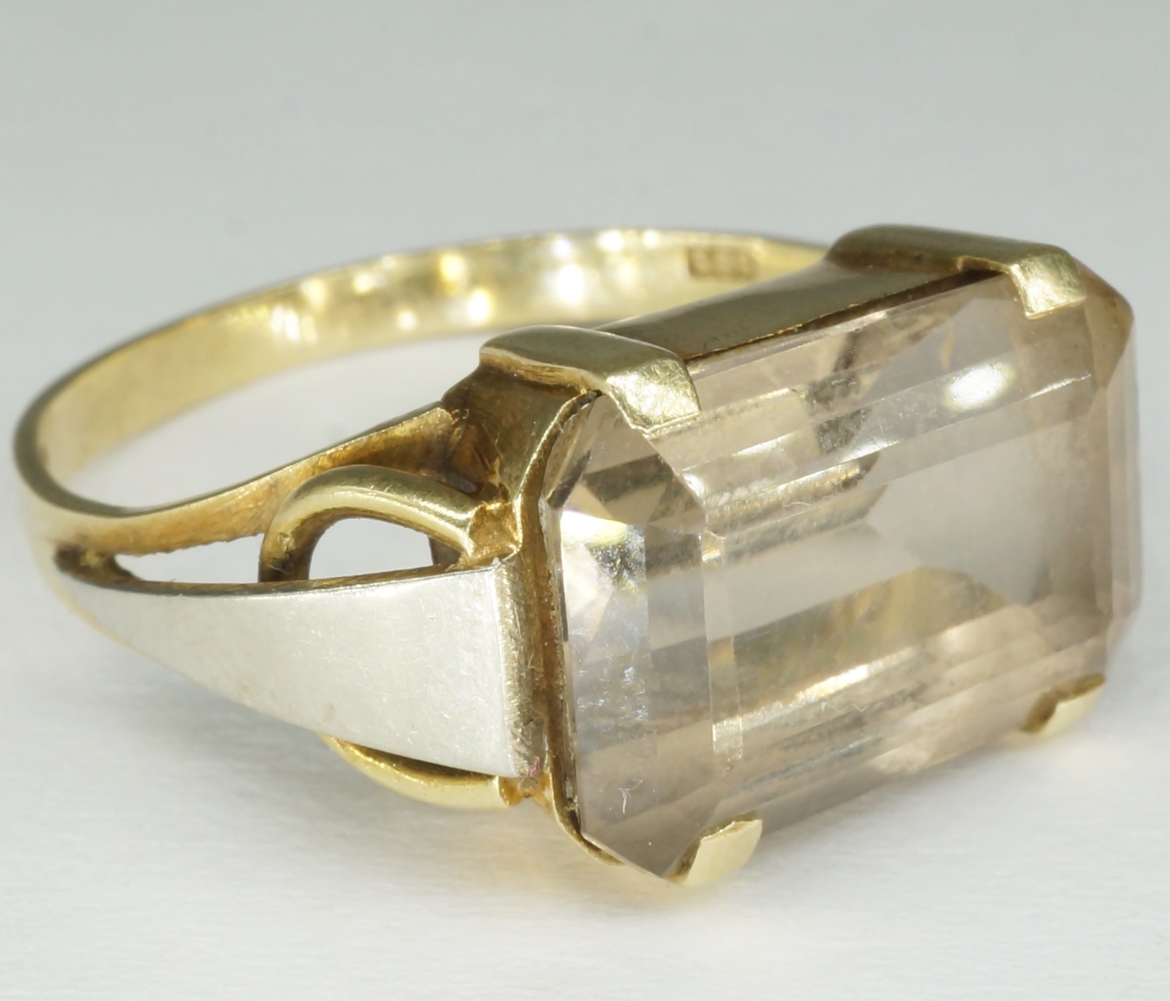 '14ct Yellow Gold  Smoky Quartz Ring With White Gold Shoulders'