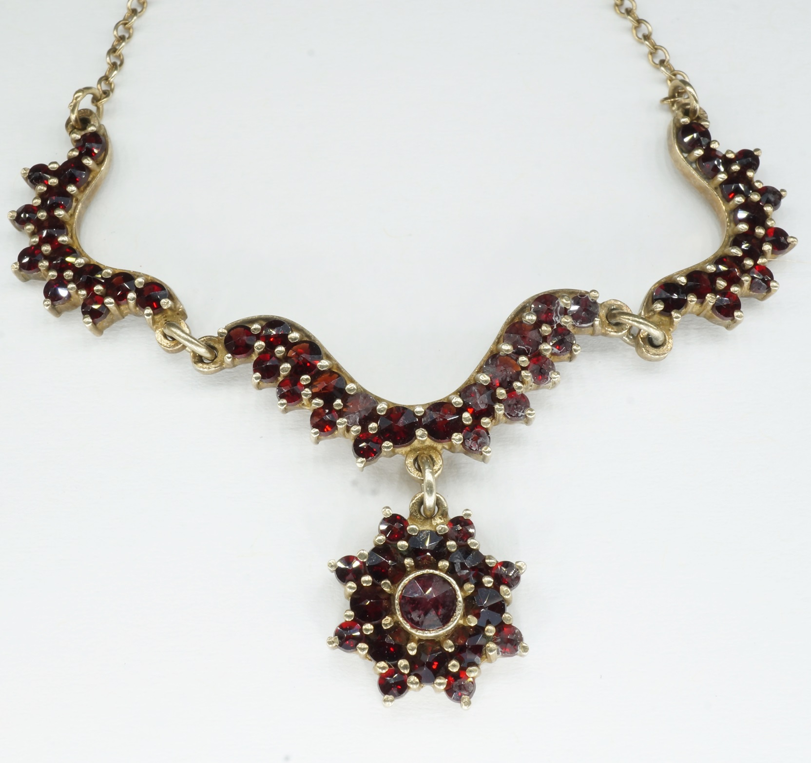 'Silver Gold Plated Garnet Necklace with Star Shaped Garnet Set Drop '