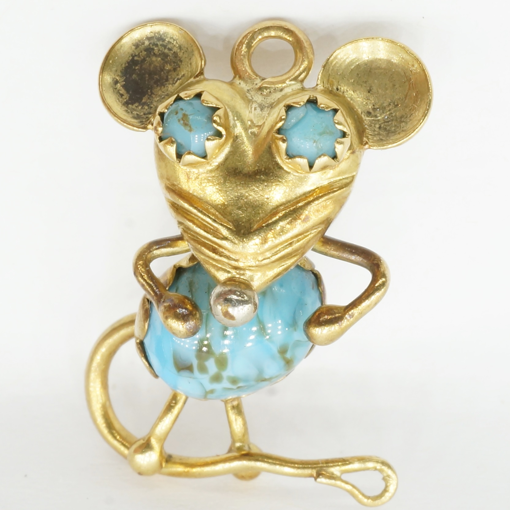 'Italian 18ct Yellow Gold and Glass Mouse Pendant'
