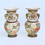 Pair of Satsuma Marriage Enamel Vases Early 20th Century