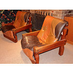 Genuine Post and Rail Brand Three Piece Pine and Leather Lounge Suite 1970s