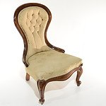 Victorian Mahogany Grandmother Chair Circa 1880 with Buttoned Brocade Upholstery