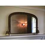 Late Victorian Moulded Gesso Mantel Mirror with Porcelain Feet Circa 1880