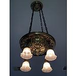 Original Brass Hanging Light with Lithophane Glass Shades Circa 1920s