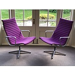 A Pair of Genuine Retro Eames Aluminum Group Model 124 Armchairs