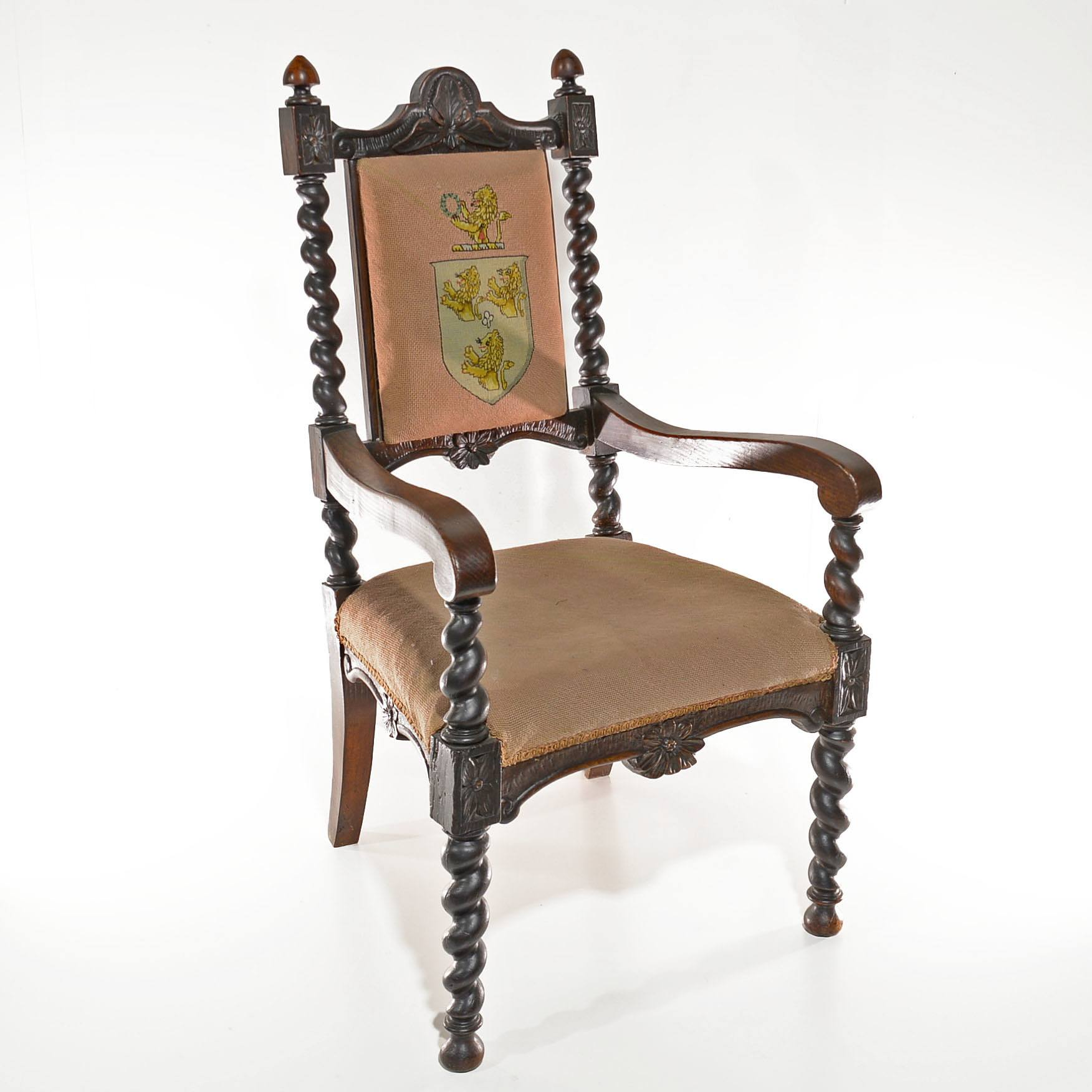 'Large Late Victorian Jacobean Style Oak Armchair with Heraldic Tapestry'