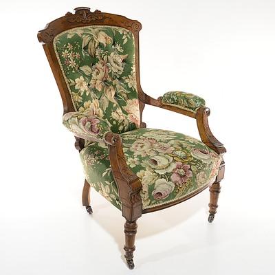 Pair Late Victorian Walnut Salon Chairs Circa 1890