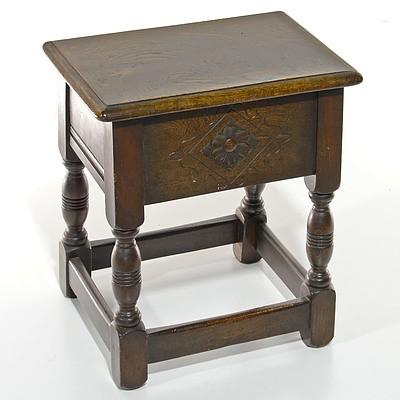 Small Oak Tudor Style Coffer Stool