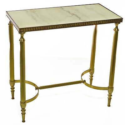 Vintage Hollywood Regency Style Brass and Marble Side Table