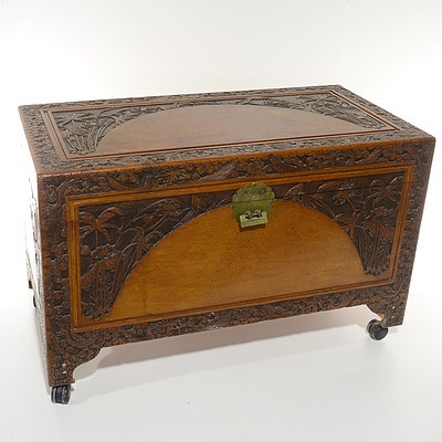 Asian Camphorwood Chest Carved with Dragons in Clouds and Foliage