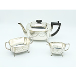 Long Cardiff Silver Plate Three Piece Tea Set with Engraved Bow and Wreath Motif