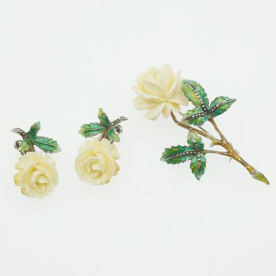German Silver, Ivory and Enamel Brooch and Earring Set
