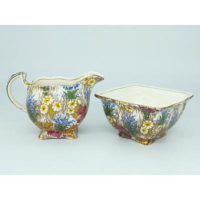 English Grimwades Marguerite Pattern Sugar Bowl and Cream Jug