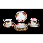 "(2) Royal Albert """"Old Country Roses"""" Teacup Trios; with 9 additional side plates"