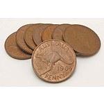 Australian Queen Elizabeth II Pennies 1964 (x8)