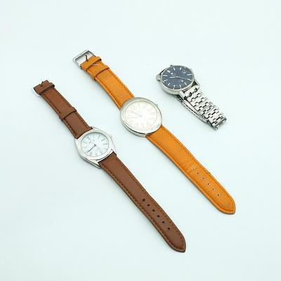 Three Wrist Watches, Including Tissot, PCA and turner