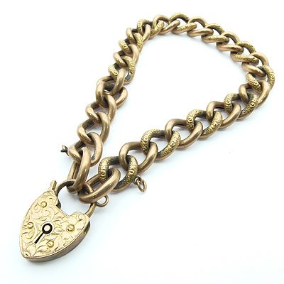 9ct Pink Gold Bracelet Oval Hollow Curb Link With Engraved Heart Padlock