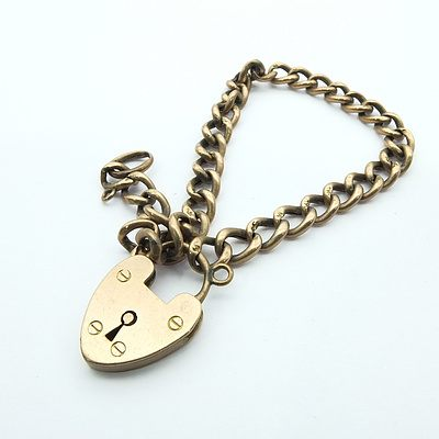 9ct Pink Gold Bracelet Oval Hollow Curb Link With Heart Padlock