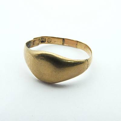 Antique 9ct Yellow Gold Signet Ring with Hallmark