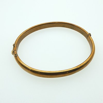 9ct Pink Gold Hinged Hollow Oval Bangle