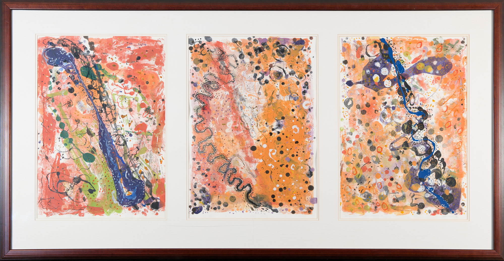 'Gregory Mallyon (1954 -) Aerial View Central Australia II Triptych, Monotype'