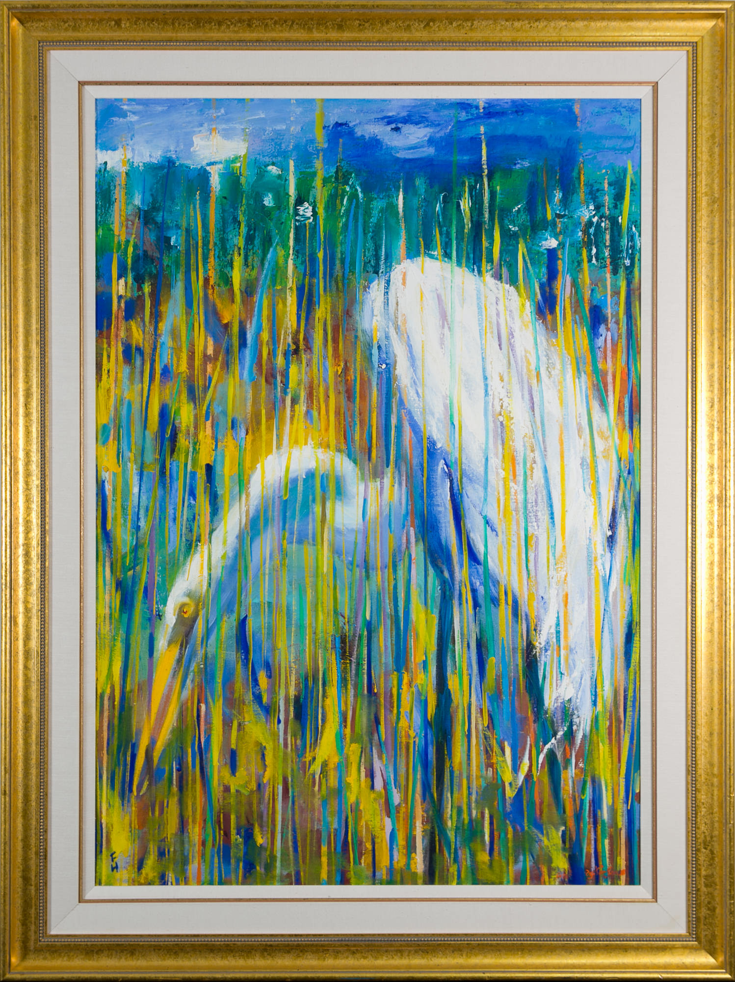 'Frank Hodgkinson (1919-2001) Great Egret 1993, Oil on Linen Board'