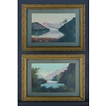 CAMPBELL, Percy (2): Lake with Skiff & River Valley with Peaks (29x45cm)