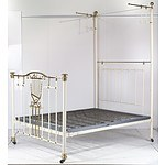 Antique Double Brass Bed Frame with Central Brass Lyre and and Brass Ball Finials