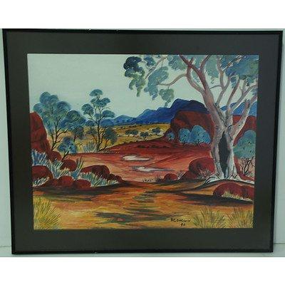 D Goodwin (Working 1990s) Australian Landscape Watercolour