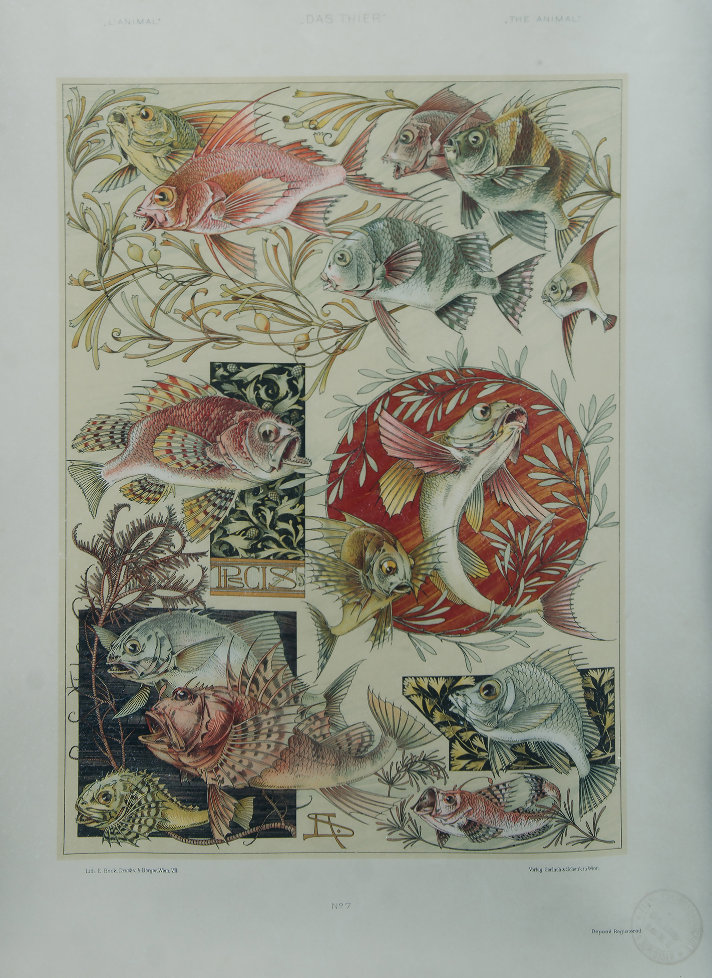 A BERGER (Vienna): 'Das Thier,' from 'L' Animal ' c1910s pub by Gerlach &  Schenk  Austrian Jugendstil Lithograph of Fish