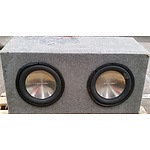 Two Schneider 10 Inch Speakers and Speaker Box