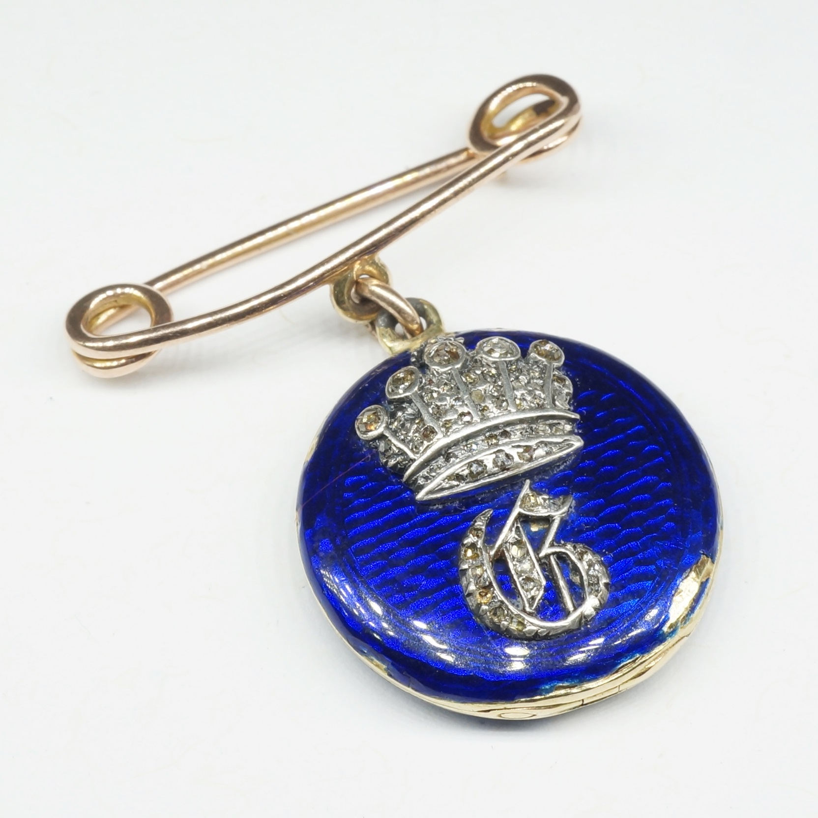 'Antique 15ct Yellow Gold Hinged Locket with Blue Enamelling and Raised Silver Crown With Pave Set with Off Round Rose Cut Diamonds'