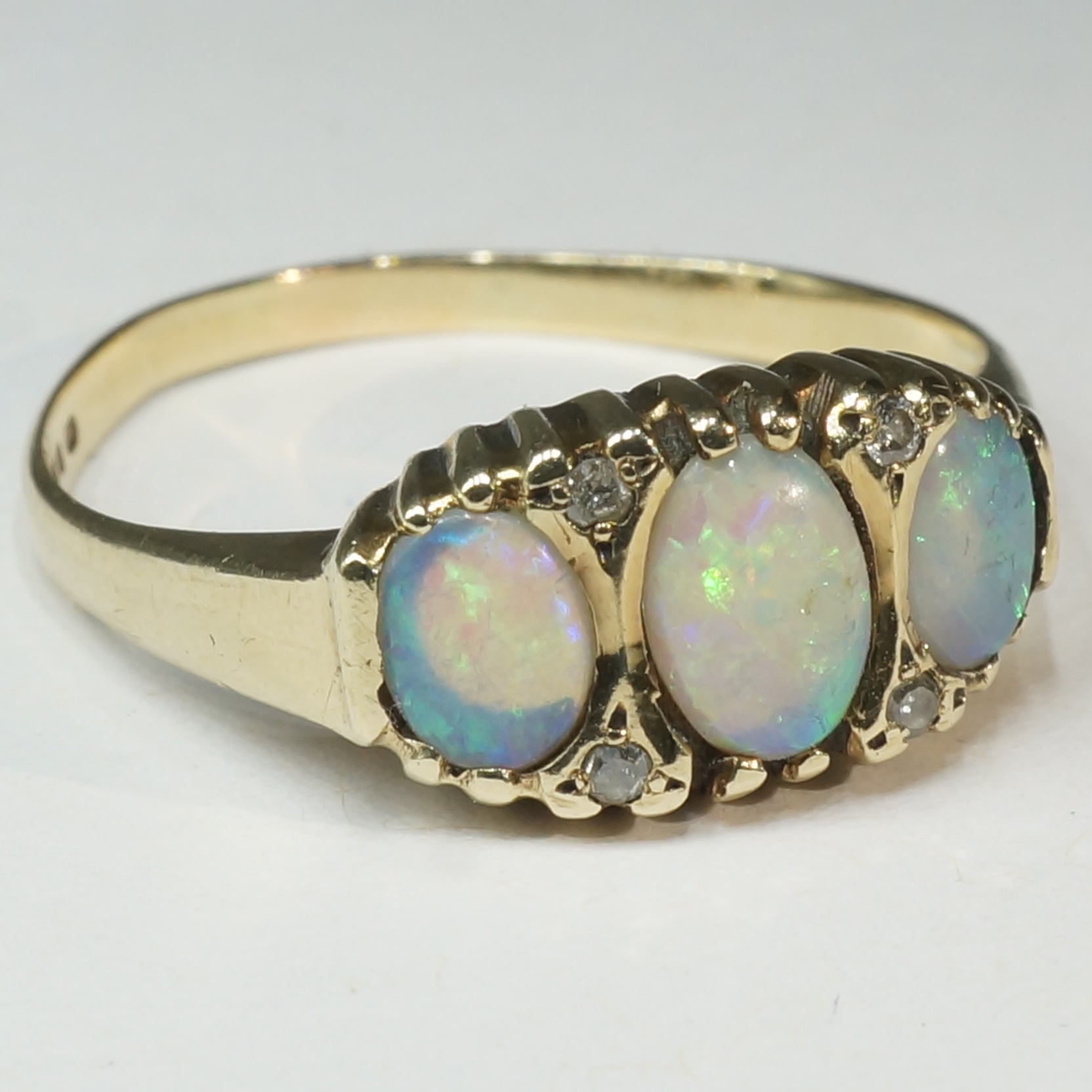 '9ct Yellow Gold Opal and Diamond Ring'