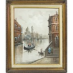 Antonio de Vity Painting of Venice Oil on Board