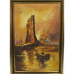 Unknown Artist Boat and Battlement Scene Oil on Canvas