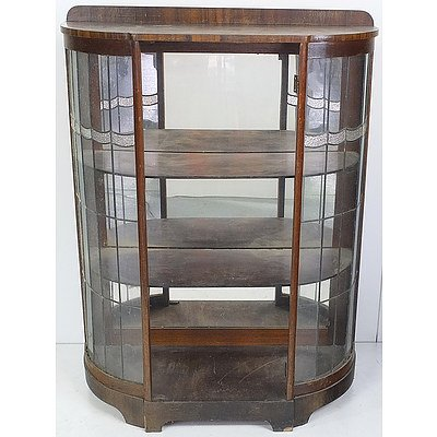 Art Deco Tasmanian Oak and Queensland Black Walnut Veneer China Cabinet