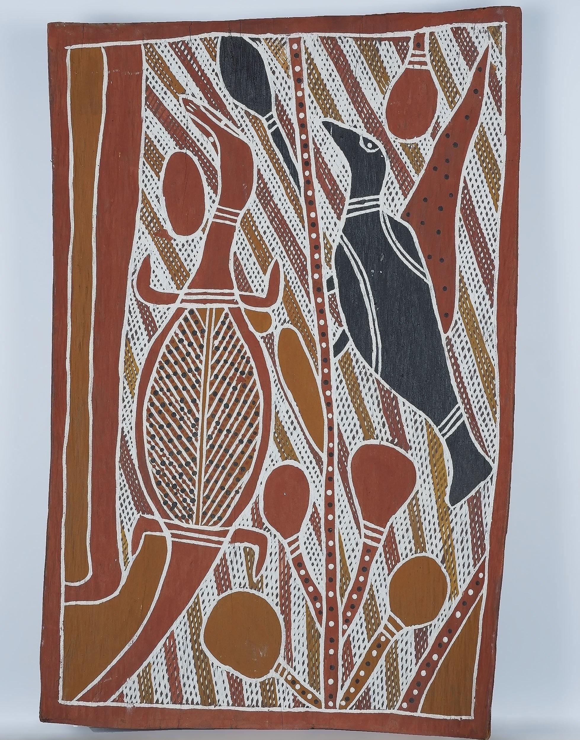 'Aboriginal Artist Unknown Arnhem Land Magpie and Goanna Pigment on Bark'