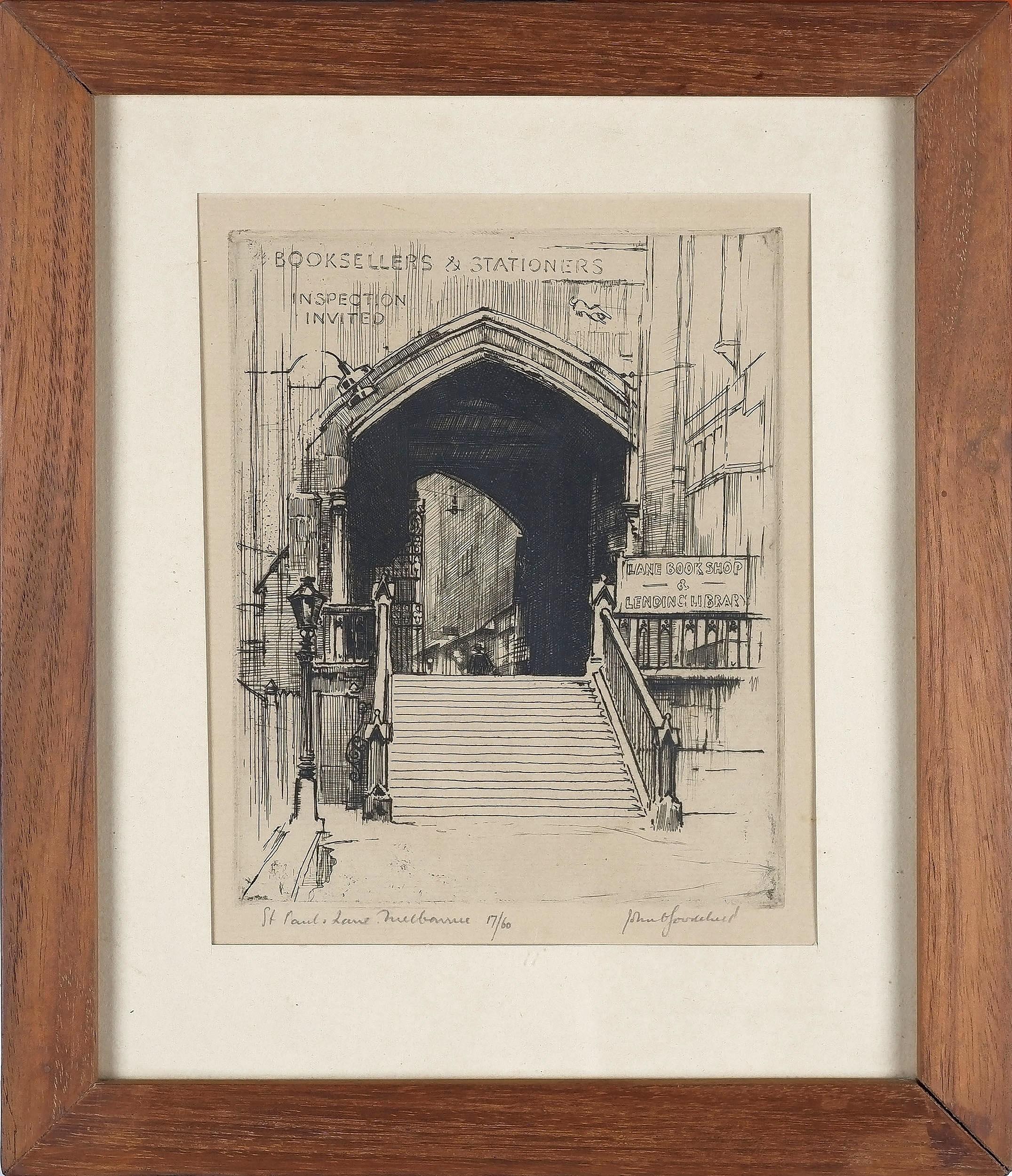 'John Charles Goodchild (1898-1980) St Pauls Lane Melbourne Etching 17/60'