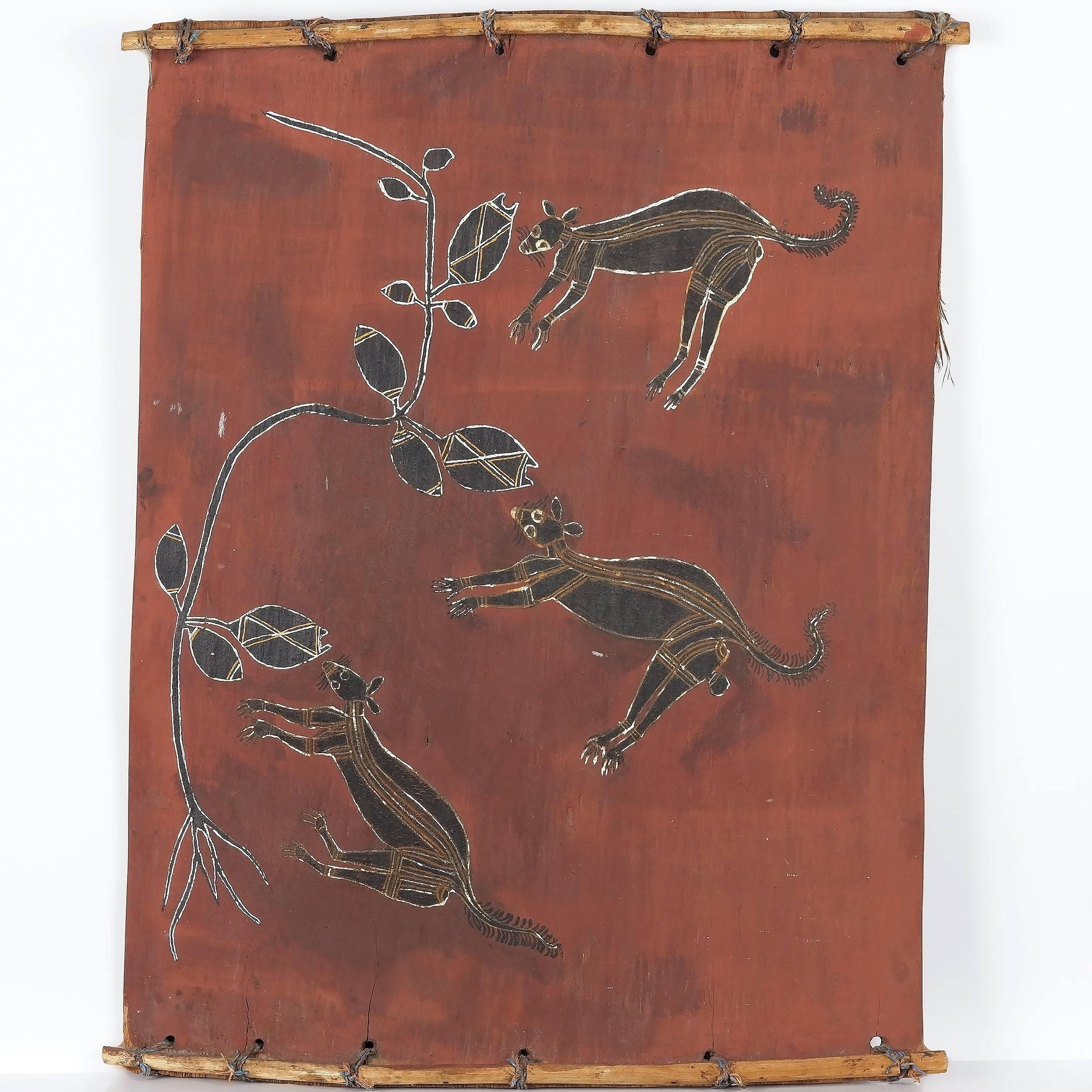 'Aboriginal Artist Unknown Kangaroos Arnhem Land Ochre on Bark'