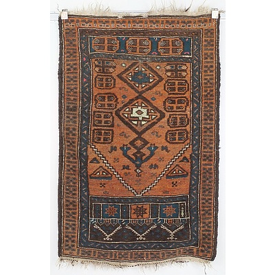 Antique Eastern Hand Knotted Wool Pile Prayer Rug