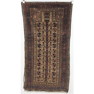 Antique Hand Knotted Wool Pile Eastern Prayer Rug