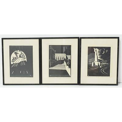 Three Nancy Parker Linocuts, Art Gallery Wellington, War Memorial Wellington and Cable Car