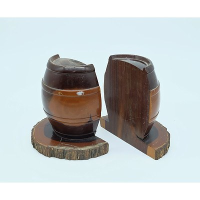 Pair of Barrel Shaped Mulgawood Bookends