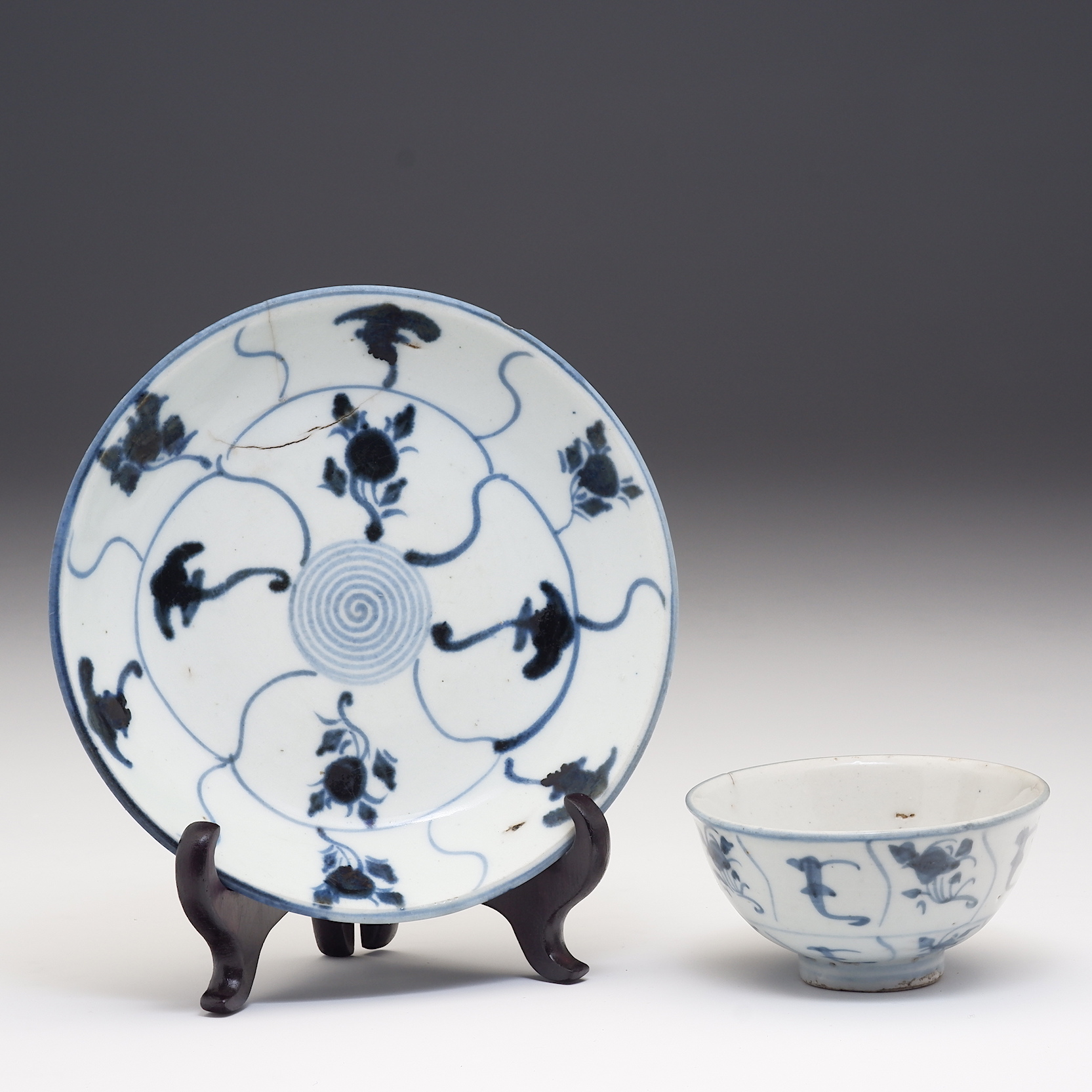 'Chinese Tek Sing Cargo Blue and White Dish and Bowl, Early 19th Century'