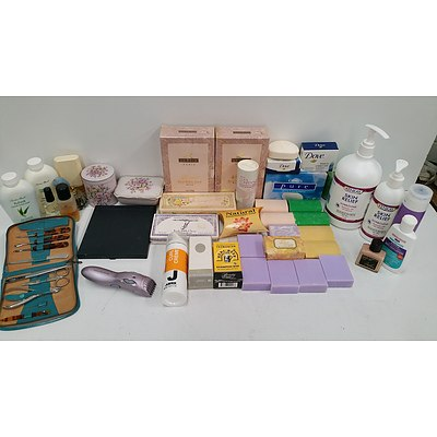 Selection of Bathroom Cosmetics, Soaps, Creams and Perfumes