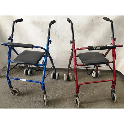 Three Mobility Walkers with Three Shower Chairs