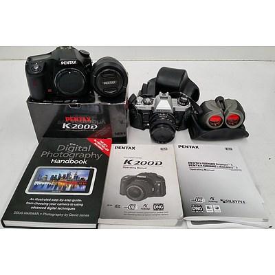 Pentax K200D Digital SLR Camera, Fujica AX-1 35mm Camera and Bushmaster Binoculars