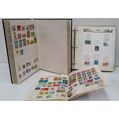 Three Stamp Albums with Stamps from Various Countries