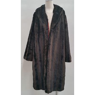 Ladies Faux Fur Jacket and Satin Cape