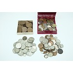 Various Pennies, Half Pennies, Shillings, Sixpence, Florins and Other Foreign Coins Including a 1966 Round 50c Coin
